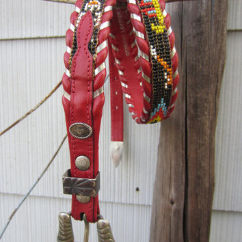 80s Red Al Beres Indian Beaded Southwestern Leather Belt, 76-86 cm / 30-34 in // Vintage Cowgirl Belt