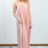 Comfy Basic Strap Maxi Dress w/ Pockets {Dusty Rose}