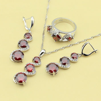 Inspirational Contemplation, Synthetic Garnet Jewelry Sets Earring Ring Necklace