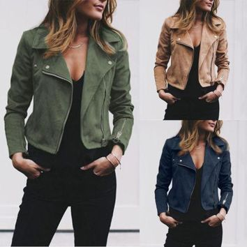 2018 Fashion New Women's Ladies Leather Jackets Zip Up Biker Casual Coats Flight Tops Clothes