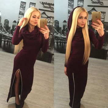 Wine Red Long Sleeve Slit Maxi Dress