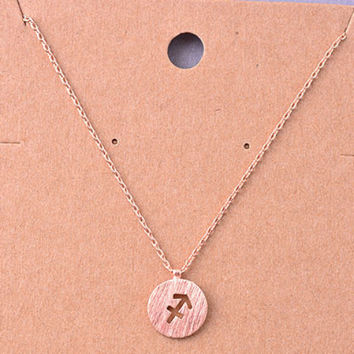 Sagittarius Rose Gold Zodiac Charm Necklace