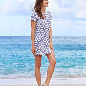 Whale Tail Tile Print Tunic Dress