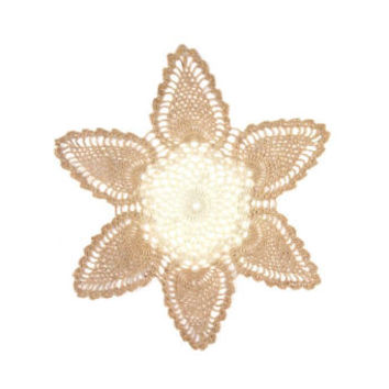 vintage crocheted doily flower stitch lace two-tone ecru brown cream delicate dainty art artwork crochet design pattern decorative rustic