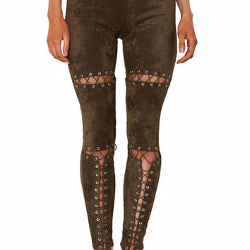 Kira Suede Lace Up Cut Out Skinny Pants