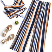 Stripes Cross Over Top and Wide Leg Pants Set