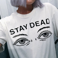 Letter Print Round Neck Shirt Top Tee