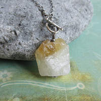 Citrine Sterling Silver Toggle Necklace, Raw Gemstone, Natural Quartz Pendant, Rough Citrine Necklace, November Birthstone
