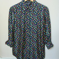 Vintage Silk Blouse / Polka Dot Blouse / 80s Silk Shirt / Slouchy Blouse / M