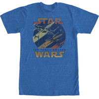 Star Wars Men's  X-Wing T-shirt Blue Rockabilia