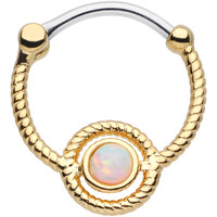 16 Gauge Iridescent Gem Gold Ion-Plated Encircle Me Septum Clicker | Body Candy Body Jewelry