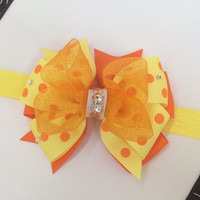 Orange and yellow headband, yellow polka dot bow, toddler couture bow, fancy headband, baby headband, girl headband