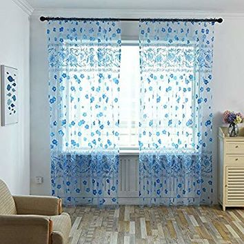 DZT1968 1PC White Printed Flower Lace Chiffon Tulle Sheer Window Treatments Door Screen Curtain (80 inch x 40 inch) (Blue)