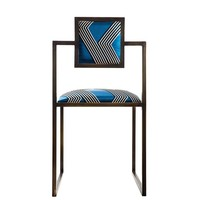 Funky Stripes Brass Square Chair