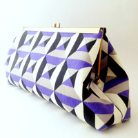 Geometric Purple, Black & White Clutch Handbag w/ Purple Linen Lining