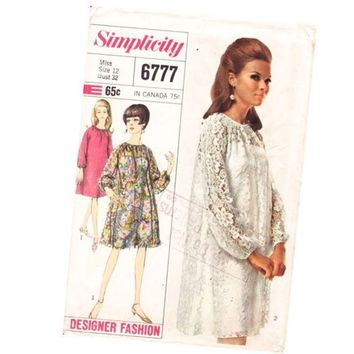 Vintage 1960s Sewing Pattern Tent Dress Raglan by mysweetiepiepie