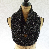Ready To Ship Infinity Scarf Crochet Knit Black and Silver Glitter Sparkle Special Occasion Women's Accessories Eternity Fall Winter