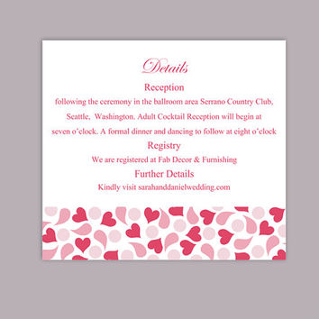 DIY Wedding Details Card Template Editable Text Word File Download Printable Details Card Pink Red Details Card Elegant Enclosure Cards
