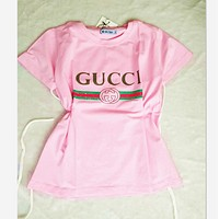 """""""Gucci""""Hot letters print T-shirt top Pink"""