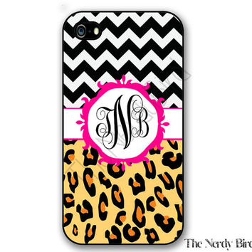 Personalized iPhone 4, 5, 5c and 6 and Galaxy s3, s4 and s5 -Chevron and leopard with pink Monogram
