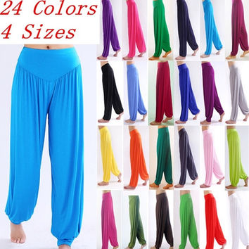 Womens Soft Elastic Waistband Fitness Yoga Herem Pants = 1933290500