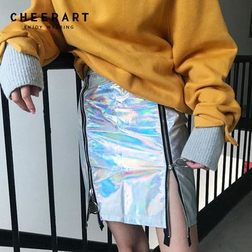 Cheerart Punk Rock Skirt Zipper Glitter Pu Leather Silver Pencil Mini Skirts Women Holographic Harajuku High Waist Skirt