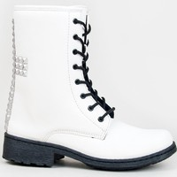 Qupid MISSILE-03 Studded Cross Lace Up Mid Calf Combat Doc Marten Boots