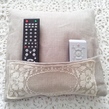 Remote holder pillow, pocket pillow, doily, bed caddy, linen cushion, tv remote caddy, cottage chic, europeanstreeteam,