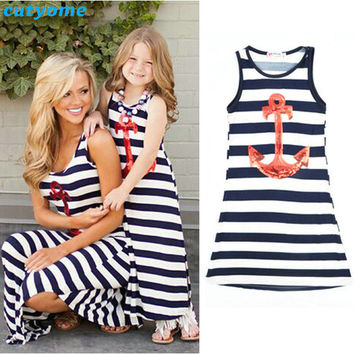 Cutyome Summer Family Look Kids Girls Dresses Mother And Daughter Striped Dress Anchor Matching Family Clothes Outfits