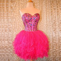 Sexy Corset Homecoming Dress Mini Party Gown 8th Grade Hot Pink Graduation 2015 Mezuniyet Elbiseleri Puffy Homecoming Dresses