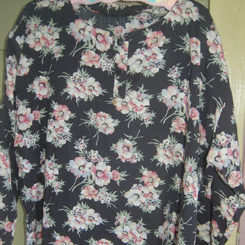 Vintage Floral 90s Romantic Grunge Plus Size Shirt Blouse Top Size XL XXL