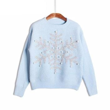 Christmas Women Sweater Knitted Snowflake Jumpers