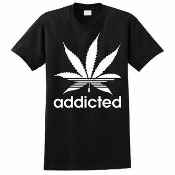 Addicted Marijuana T-Shirt Cannabis Plant Funny Dope Weed Wiz Khalifa Stoner Pot