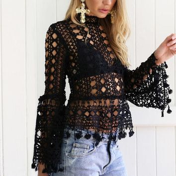 Butterfly Sleeve Top High Neck Lace Shirt Hollow Bare Midriff Falbala Blouse Beach Cover Up