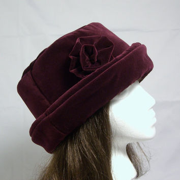 Deep Burgundy VELVET Hat with velvet rose, Women's Velvet Hat, Velvet Hat, Burgundy Velvet Hat