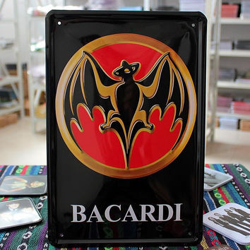 Rum Bacardi Metal Tin Signs Plate Sign House Cafe Restaurant Bar Poster Antique Imitation Iron Painting Free Shipping 30*20cm