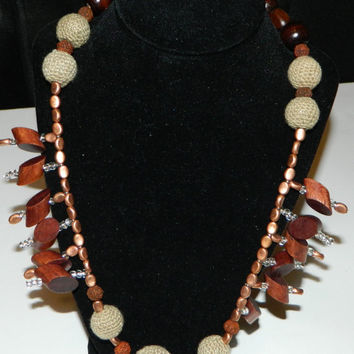 Chunky Wood Necklace Statement with Burlap Bead Center