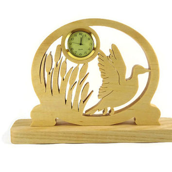 Duck Taking Flight Desk Or Shelf Clock Handmade From Ash Wood By KevsKrafts