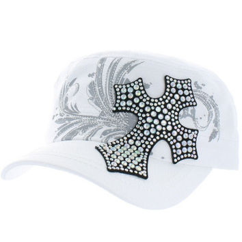 Rhinestone Bling Hat Cute Designer Fashion Black White Cadet Cap Embroidered Cross