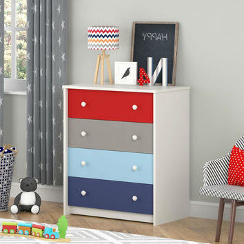 Kids Boys Bedroom 4-Drawer Dresser in Red Grey Light Blue & Indigo