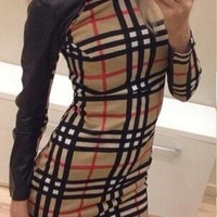 Black Plaid Round Neck Long Sleeve Mini Dress