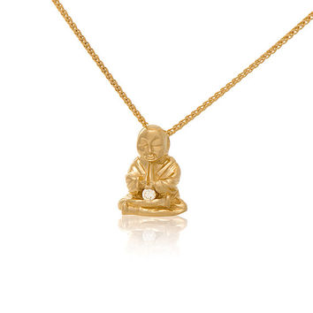 14K Yellow Gold Diamond Peaceful Buddha Pendant Necklace Buddha Jewelry Love Light Compassion Foundation Buddha Buddies