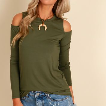 Gimme The Cold Shoulder Top Olive