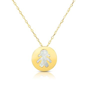 """14K Yellow Gold Mother Of Pearl Girl Pendant Necklace, 16"""""""