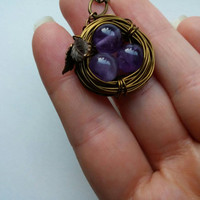 Bird Nest Necklace | Amethyst Necklace | Wire Wrapped Necklace