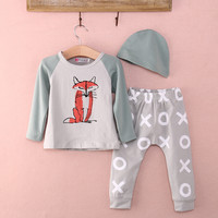 3 unids clothing fox hat shirt pants