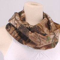 RealTree Camo Brown cowl women OOAK lightweight Infinity scarf Loop Circle Noodle Cotton Scarf Necklace by Creations by Terra
