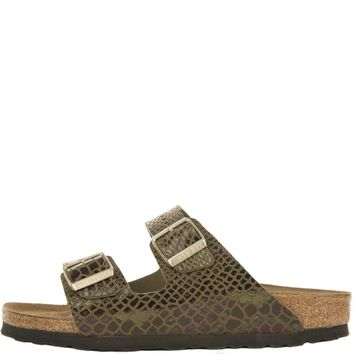Birkenstock For Women: Arizona Shiny Snake Olive Birko-flor Sandals - Beauty Ticks