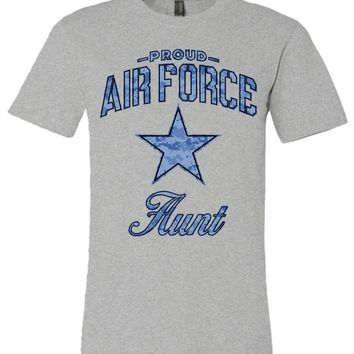 Proud Air Force Aunt Unisex T-Shirt (Camo)