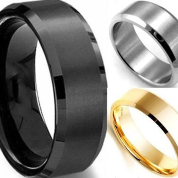 1pc 6MM Men's Wide Stainless Steel Ring Band Titanium Brushed Wedding Ring Black/Silver/Gold [7899005831]